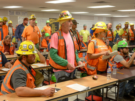 Local 40 Boilermakers and travelers working at the TVA Paradise project receive training on The Boilermaker Code.