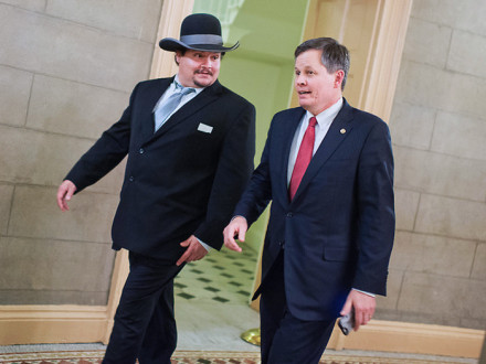 L-11 PRESIDENT JASON SMALL, left, accompanies Montana Sen. Steve Daines to the 2016 State of the Union in Washington, D.C.