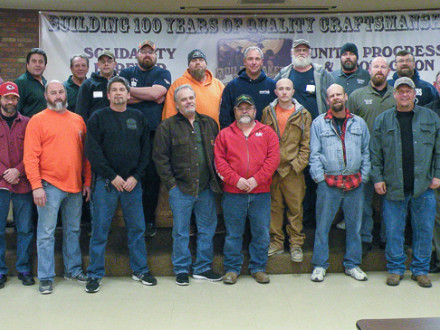 Pictured are, front row, left to right: Tony McKinley, Ron Hoopes, Mike Tucker, Mike Hodges, Dennis Matticks, Marty Gravett, Alex Hunter, Robbi Ussery, Nathan Foulks, MOST Instructor Chuck Clancy, and Business Manager Joe Lewandowski. Back row: Jim Vogrin, MOST Instructor Jay Brophy, MOST Instructor Ed Hebert, Cody Maize, Apprenticeship Instructor Tom Burgess, Ed Hunter, President Scott Campbell, Robert Lawson, Dispatcher Bill Chambers, Nebraska and West Iowa Rep Scot Albertson, and Vice President Tom Dye.