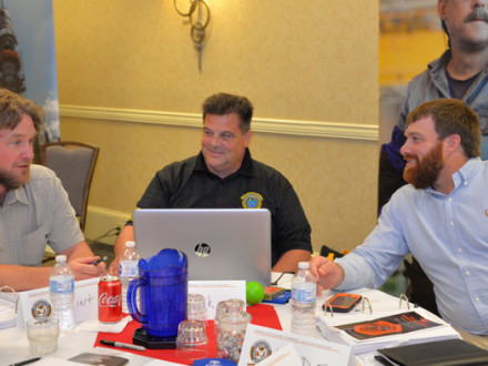 New BM-STs exchange ideas during a training session. From left: Clinton Penny, L-11; Kirk Cooper, L-60 and Wade Mason, L-110.