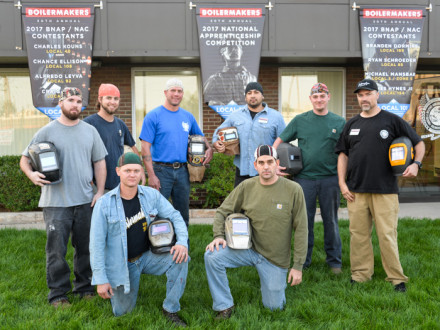 Competitors at the National Apprentice Competition face off at Local 101 in Denver. Front row, left to right: Branden Dormire, L-169 (winner) and Ryan Schroeder, L-85 (runner-up). Back row, left to right: Michael Mansbart, L-5 Zone 5; Chance Ellison, L-108; James Hynes, L-154; Alfredo Leyva, L-92; Charles Kouns, L-40 and Craig Rose, L-101.