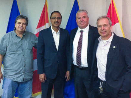 Meeting with Minister Amarjeet Sohi (second from left) are, l. to r., L-146 Trustee Ron Ruth, IR Cory Channon and L-146 Assistant Business Manager Robert Key.