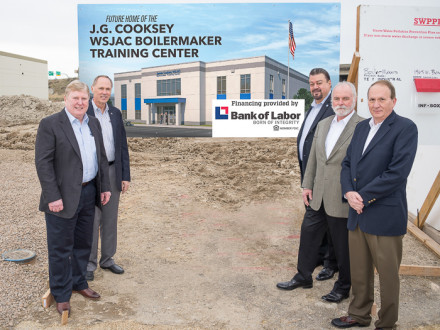 The new J.G. Cooksey WSJAC Boilermaker Training Center is being financed by Bank of Labor. Left to right: Bob McCall, BOL President; Bill Arnold, BOL Executive Vice President/Director of Client Services; J. Tom Baca, IVP-WS; Bill Creeden, IST; and Joe Keller, BOL Senior Vice President, Manager Commercial Banking Division.
