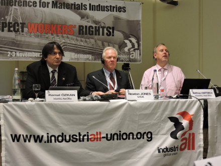 Taking questions from delegates are, l. to r., Kemal Özkan, Assistant General Secretary, IndustriALL; IP Newton Jones, Sector Chairman; and Matthias Hartwich, Director, Mechanical Engineering and Materials Industries, IndustriALL.