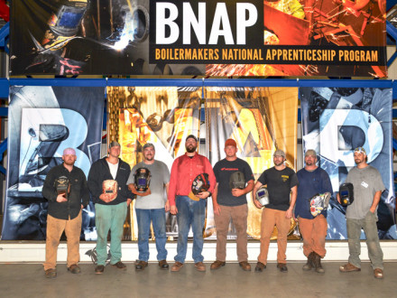 COMPETITORS AT THE NATIONAL APPRENTICESHIP COMPETITION SHOWCASE THEIR SKILLS AT LOCAL 28 IN NEWARK, NEW JERSEY. Pictured from l. to r.: Matt Stillson, L-1; Joshua Slater, L-169; Dwayne Martin, L-40; Michael Estes, L-83; Joshua Roupe, L-154; Andrew Davis, L-29; Justin Williams, L-101; and Jason Eubanks, L-549.