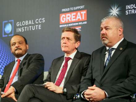 IR Cory Channon, far right, explains the Boilermakers' role in CCUS. Left, Ahmad O. Al Khowaiter, Chief Technology Officer, Saudi Aramco; center, Artur Runge-Metzger, Director of Climate Strategy, Governance and Emissions from Non-trading Sectors, DG Climate Action of the European Commission.