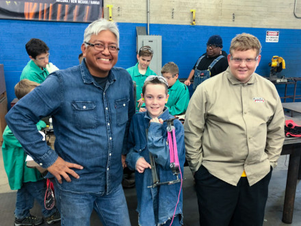 Boy Scouts earn a Model Design and Building merit badge by completing mock reeving project. From left to right: L-627's Gary Bain, and Scouts Henry Flatt and Nathan Schrepfer.