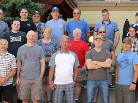 Cement District Lodge D11 held its 2017 conference in Sun Peaks, British Columbia last July. Attending were, front row, l. to r., Tony Andrade, BM-ST, D10; Randy Martin, D331; Wayne Cameron, D331; Brent Hunnisett, D486; Rob Lauzon, IR; Kevin Sheptycki, D11; Jordan Dunne, D400; Scott Slade, D359; and Nathan Blais, D277. Second row, l. to r., Josh Deweerd, D385; Elloitt Cramner-Sargison, D331; Nate Reily, D486; Phyllis Van Rhyn, D385; Greg Dunning, D385; Dan Kerr, D277; Bryson Lindy, D385; Jeff Olson, D575; a