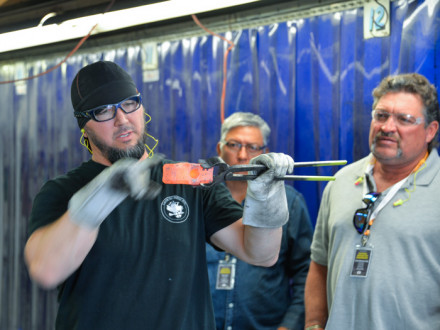 L-374's Nick Tokarz explains the hammer forging process.