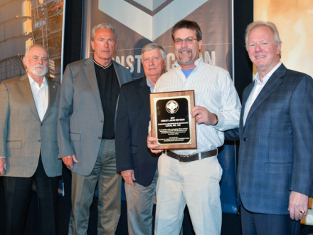 SCOTT HAMMOND, BM-ST of Local 105 (Piketon, Ohio), accepts the John F. Erickson NACBE Safety Award on behalf of his lodge during the 2018 Construction Sector Operations Conference in Fort Lauderdale, Florida, March 5.  L. to r. are IST Bill Creeden, IVP-GL Larry McManamon, NACBE Executive Director Ron Traxler, Hammond and IP Newton Jones.