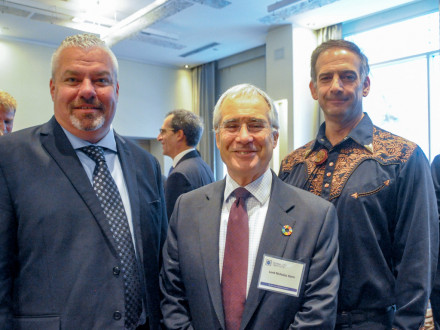 "Cory Channon, International Director of Climate Change Policy Solutions, advocates for CCUS technology during Climate Week in New York. L. to r., Channon, Chair of the United Kingdom's Grantham Research Institute on Climate Change and the Environment Lord Nicholas Stern and ""Carbon Wrangler"" Dr. Julio Friedmann."