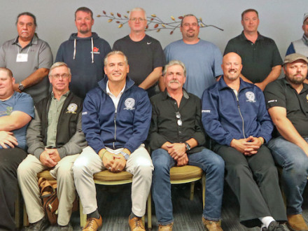 Attending the first District 10 conference are, first row l. to r., L-D454 ST David (Spud) Stevenson, L-D406 ST Share Hebert, L-D579 ST Mike Ettinger, L-D494 ST Stanley Young, District 10 BM-ST Tony Andrade, L-D406 VP John Black, L-D366 BM Jameson Amaral, L-D387 President Jason Bosley, L-D387 ST Mike Gyde and L-D324 President Scott Carson. Second row l. to r., L-D366 President Jason Boles, L-D494 President Jim Louwe, L-D454 President Brad Sutherland, L-D579 President Shawn Hines, L-D488 ST Mike Smith, L-D48