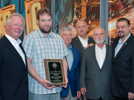 Clinton Penny, BM-ST of Local 11, accepts The John F. Erickson NACBE Safety Award on behalf of his lodge during the 2019 Construction Sector Operations conference. L. to r. are IP Newton Jones, Penny, NACBE Executive Director Ron Traxler, NACBE President Tom Shull, IST Bill Creeden and IVP-WS J. Tom Baca.