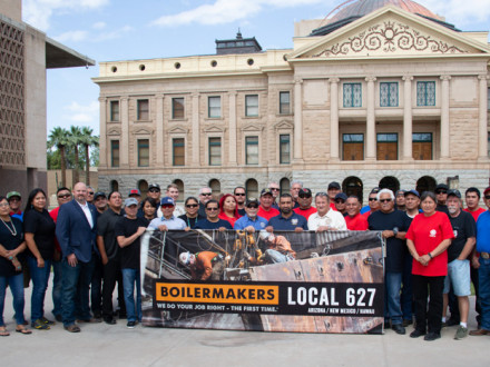 Forty members of L-627 gathered in the courtyard of the Arizona State Capitol for the local's first annual Day of Action.