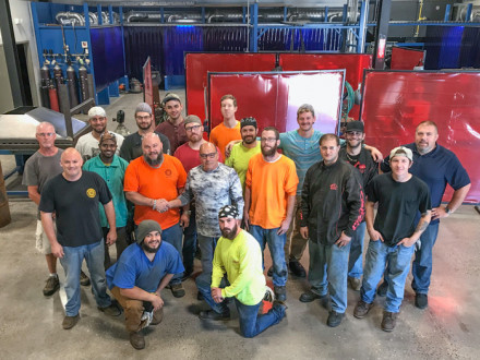 The new Northeast Training Facility opens its door to host the first of three Welding Boot Camps. Kneeling l. to r., Jordon Trust and Dominic Nacca. Front row l. to r., L-237 BM-ST Chris O'Neill, Instructor Joel Kipfer, IVP-NE John Fultz, Adam Church, Adam Ziegler and Ryan Hoffman. Middle row l. to r., Jerry Couser, Zeresehay Berhe, Ruark Danforth, Thomas McNeil, Jedediah Robertson, Instructor Daniel Badiali and Jason Dupuis, NEAAC. Back row l. to r., Jonathan Middleton, Chance Gendron, Tom Keegan and David