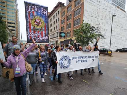 Boilermakers and other union women flood downtown Minneapolis during a rally.