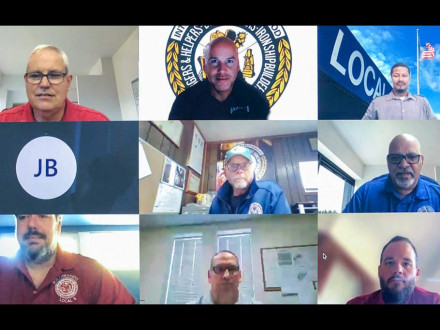 Participants log in from across the U.S. for new lodge leader training. On screen are: Top row l. to r., Mark Garrett, MOST Programs administrator; Darren Lindee, L-60; Tim Jefferies, L-549. Middle row, John Bland, L-13; Luke Lafley, L-242 and Tim Bradbury, L-37. Bottom row, Tom Ryan, L-5 Z-5; Bruce Forshee, L-667 and Heath Simmons, L-108.