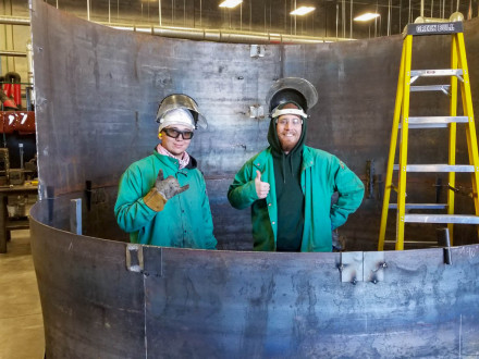 "Local 627 graduate apprentices Dakota Huffman (left) and Thomas ""T.J."" Clark at the J.G. Cooksey Training Center in Salt Lake City, Utah."
