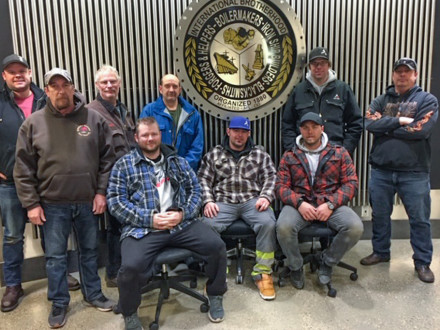 Participants in L-146's master rigging training are: front row, l. to r., National Training Instructor Jim Beauchamp, David Robertson, Jeremy Quinn and Jean-Denis Daigle; back row, l. to r., Chris Martin, L-359's Shane Borza, Jason Ewasiuk, Monty Jones and Russell Reid, instructor.