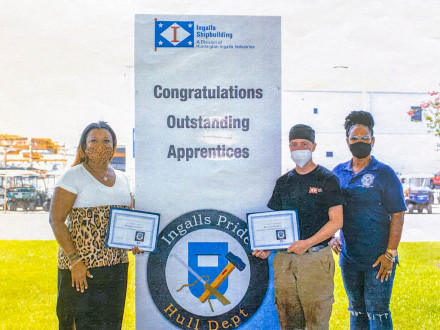 Two women from Local 693 (Pascagoula, Mississippi) graduated from the Ingalls Shipbuilding apprenticeship program in 2020.