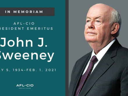 AFL-CIO President Emeritus John Sweeney served five terms as AFL-CIO President before stepping down in 2009.