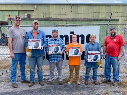 SAJAC gives welding hoods to members and recruits who pass an Inconel weld test. From l. to r.,Bill Campbell, instructor; Ryan Hicks, L-455; Buck Fendley, L-108; Chance Harrelson, L-456; Alysha Derby, L-433 and Joel Kipfer, instructor.