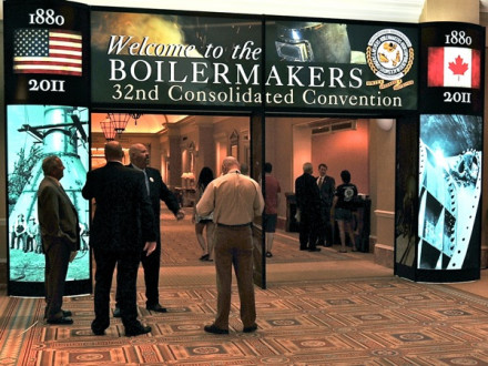 Delegates gather near the Boilermakers' convention portal.