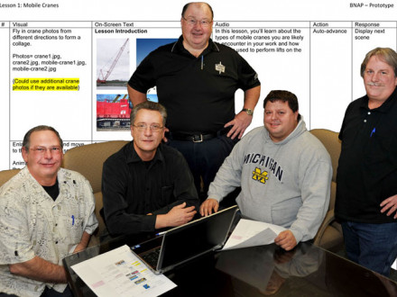 BNAP staff members work on story-boarding a video segment of the BNAP Online Interactive Training System. L. to r., trainer Dave Vallacqua, lead instructor John Standish, BNAP National Coordinator Marty Spencer (standing), trainer Terry Collins, and trainer Mark Branscum.