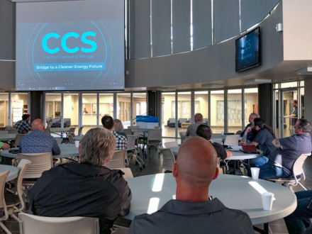 "Attendees view the Boilermakers commissioned film ""CCS: Bridge to a Cleaner Energy Future"" to learn how CCUS works and why it is a vital climate-change solution that preserves jobs and the economy."