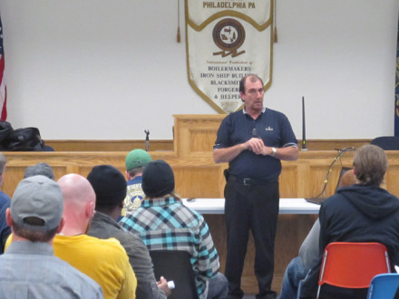Jim Beauchamp, center, conducts a Canadian work seminar at Local 13 (Philadelphia). Members of Local 28 (Newark, N.J.) and Local 193 (Baltimore) also attended.