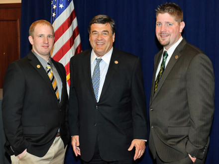 "Rep. C.A. ""Dutch"" Ruppersberger (D-MD 2nd), center, with Local 193's Jeff Baerlein and Matt Maelsick."