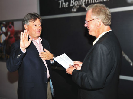 IP Newton B. Jones swears in D. David Haggerty as IVP-NE.
