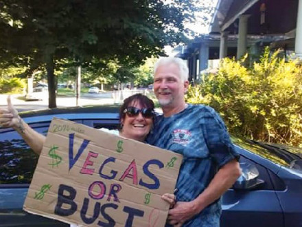Gary Parrish, a steward from L-1073, and his wife Christine get set for their four-day drive to Vegas.