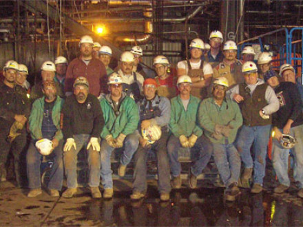 Workers on this night shift rigging crew are among 265 Boilermakers employed by B&W at the A.S. King Plant in Bayport, Minn.