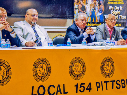 L-154 BM Ray Ventrone, second from left, leads a panel on coal issues Aug. 17. Joining Ventrone are, l. to r., U.S. Rep.  Tim Murphy, U.S. Rep. Mike Doyle, Pittsburgh Building Trades President Rich Stanizzo, and Allegheny County Labor Council President Jack Shea.