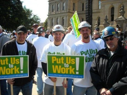 Four Local 169 members rally for construction jobs in Michigan last fall. L. to r., Josh Fuentes, Brandon Vermeesch, Neal Marsh, and Greg Webb.