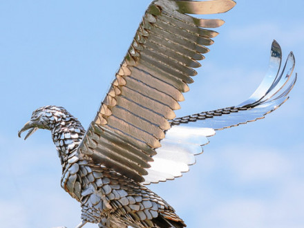 Steel eagle sculpture sitting atop the VFW Post's pavilion.