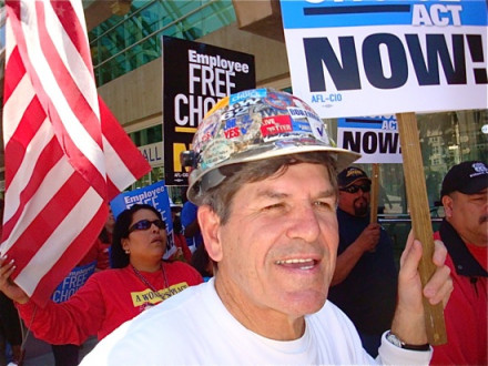 Boilermakers from Local 1998, San Diego (NASSCO Shipyard), take part in a Cesar Chavez Day march. L. to r., Diana Barrientos, office manager; Kenny Johnston, chief steward for the steel bargaining unit; and (background) Robert Navarro, chief steward for the crane operators.