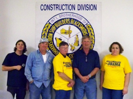 Among the L-199 volunteers who worked tirelessly to help elect pro-worker candidates in 2008 are, l. to r., Shane Ferguson, apprentice; Dale Ferguson, 32-year member; Jerry Rhoden, retired member; David McKendree, trustee; and Erica King, apprentice.