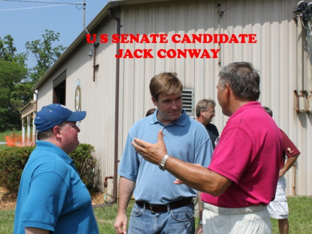 L-40 BM-ST Ray Parrott, r., visits with Jack Conway, c., Kentucky attorney general and Democratic candidate for U.S. Senate, as L-40 Chairman of Trustees William Link looks on. In background is L-40 member Jim Arnett, Conway's chief of staff.