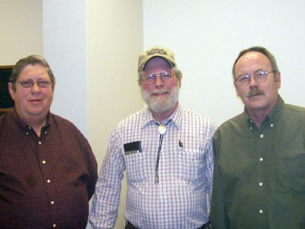 Verlin Fritchley, Jerome P. Tobin, and John Moore, l. to r., are among the first to qualify for TRA benefits following the closing of Joy Mining Machinery in Mount Vernon, Ill.