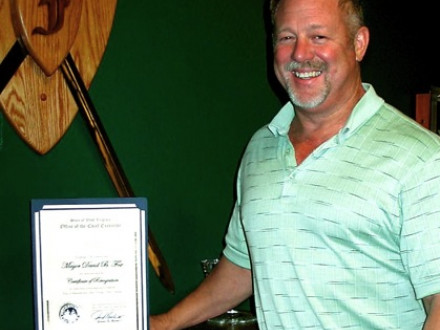 L-667's David Fox receives an award for his service as mayor of Sistersville, W.Va.