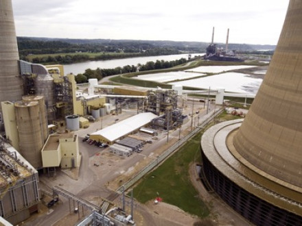 This rooftop view of AEP's Mountaineer plant in West Virginia shows the precipitator (at far left) that removes particulate matter. At the base of the stack, is the flue gas desulphurization unit (scrubber). At right is the base of the cooling tower.  Photo courtesy American Electric Power