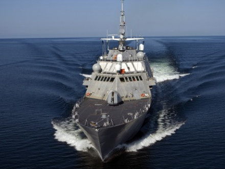 The first U.S. Navy littoral combat ship, USS Freedom (LCS 1) conducts a speed run during builders' trials. The ship is designed for littoral, or close-to-shore, operations and to provide access and dominance in coastal-water areas. Photo courtesy of Lockheed Martin.