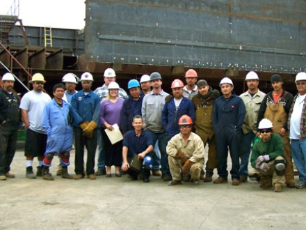 Local 6 members are building a barge for Sasso Sabbia LLC in Petaluma, Calif.