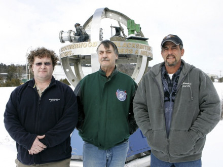L-73 Boilermakers (l. to r.), Kim Blyth, assistant BM-ST, Kevin Chaisson, BM-ST, and Daniel Dezainde, dispatcher, are featured in a newspaper story describing the lodge's charitable activities. Kâté Braydon/Telegraph Journal