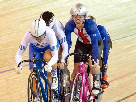 Paige Gray and Stephanie Zundel (tandem cycle on right) work their way up the pack at the UCI Para-cycling Track World Championships in Milton, Ontario. Gray is a control room operator at Black Hills Power in Pueblo, Colorado, and L-101 sponsors the racing duo.
