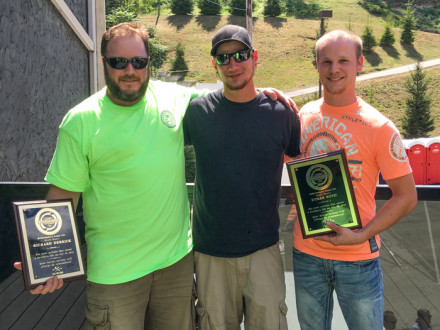 L-154 heroes Rick Derrick (far left) and Ethan Boyd (far right), flank Jonathan Bach. Derrick and Boyd were presented with awards for heroism during a Labor Day picnic in Pittsburgh. John McClurg and Scott Weaver were not available to attend the event.