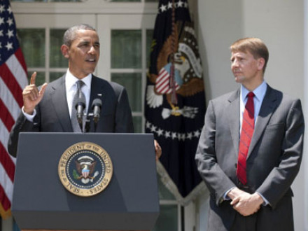 PRESIDENT BARACK OBAMA announces the nomination of former ohio attorney general richard Cordray, right, as the first director of the Consumer Financial Protection Bureau. <em>Official White House Photo</em>