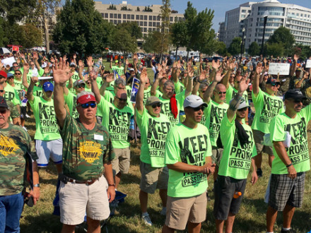 Boilermakers from around the country stand in solidarity with the UMWA on Capitol Hill.